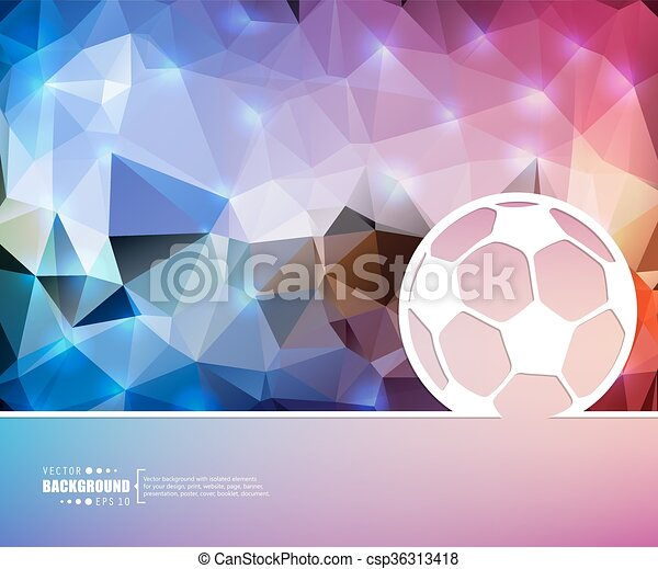 Creative vector Ball football. Art illustration template background. For presentation, layout, brochure, logo, page, print, banner, poster, cover, booklet, business infographic, wallpaper, sign, flyer - csp36313418