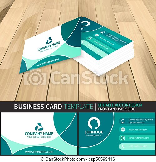 Creative Vector Business Card Template Design With Front And - Front and back business card template