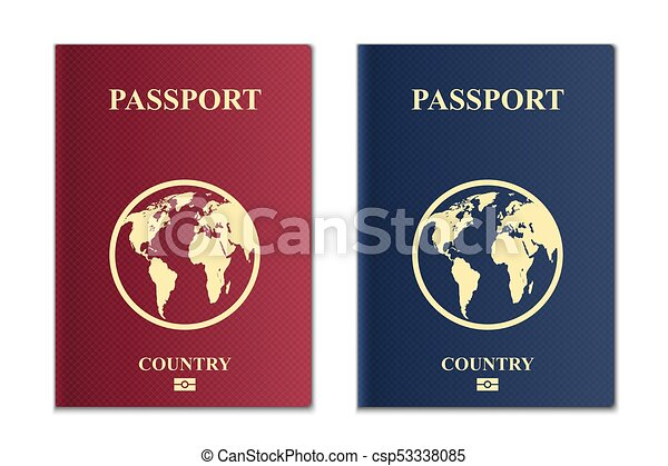 creative vector illustration of passports with globe map isolated on transparent background art design front cover international identification document