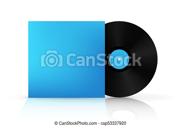 Creative vector illustration of realistic vinyl record disk in paper creative vector illustration of realistic vinyl record disk in paper case box isolated on background front view art design blank lp music cover mockup maxwellsz