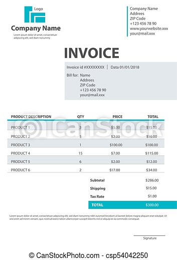 Creative vector illustration of invoice form template for your creative vector illustration of invoice form template for your billing isolated on transparent background customizable business company art design thecheapjerseys Choice Image