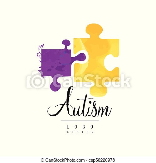 Creative vector logo for autism awareness day with two pieces of ...
