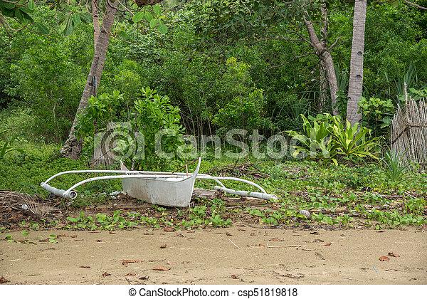 Creative white boat on the beach - csp51819818