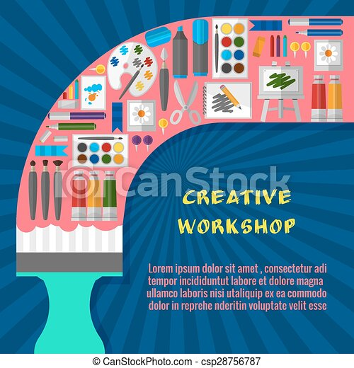 Creative Workshop Poster Template Paintbrush And Tool Design And