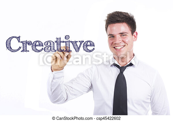 Creative - Young smiling businessman writing on transparent surface - csp45422602
