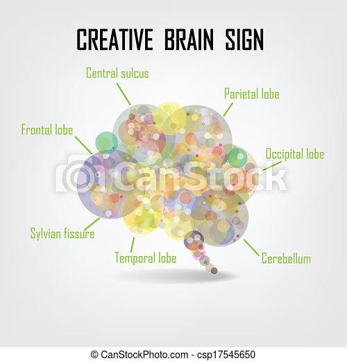 Simbolo cerebral creativo, signo de creatividad, símbolo de negocios, conocimiento y icono educativo - csp17545650