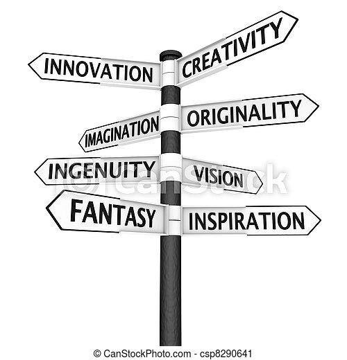Creativity crossroads sign - csp8290641