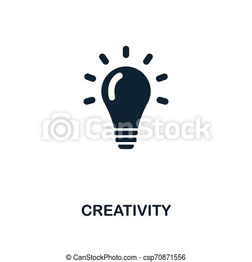 Creativity icon. Monochrome style design from business icon collection. UI. Pixel perfect simple pictogram creativity icon. Web design, apps, software, print usage. - csp70871556