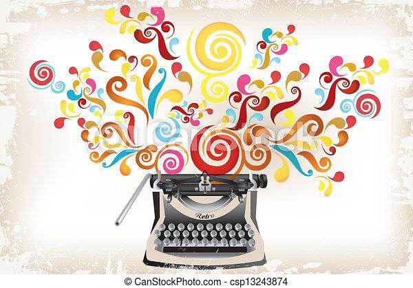 Creativity - typewriter with abstract swirls - csp13243874