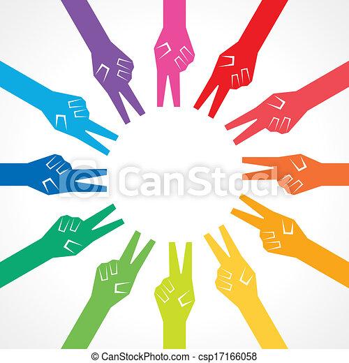 Manos coloridas de victoria creativas - csp17166058