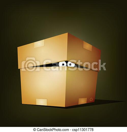 Creature Inside Birthday Cardboard Box - csp11301778