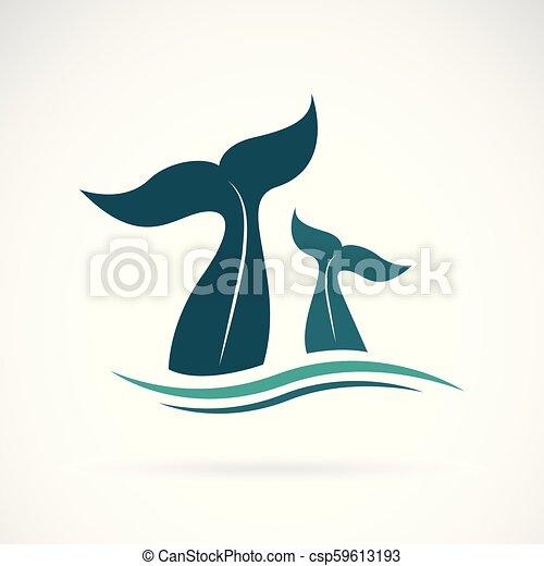 Vector de cola de ballena en el fondo blanco. Animales. Criatura marina. Ilustración de vectores fácil de editar. - csp59613193
