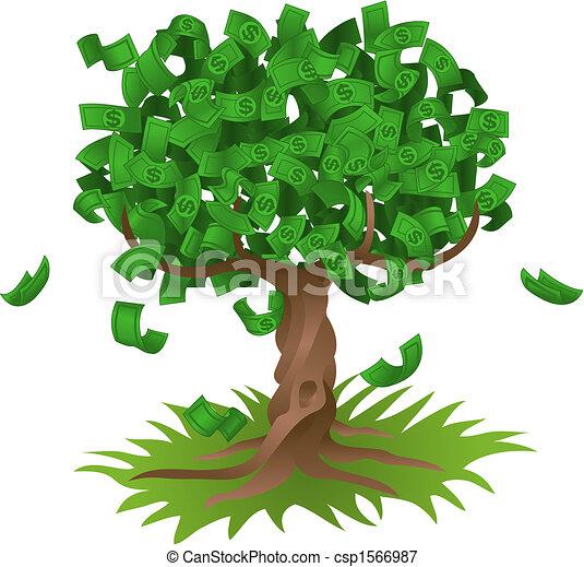 El dinero crece en el árbol. Ilustración del vector. el