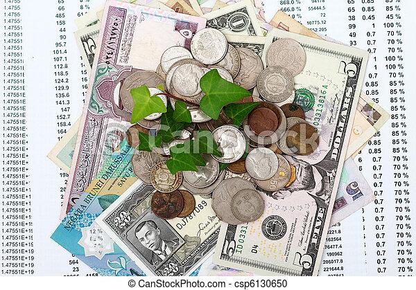 crecer, dinero, moneda, hoja, verde - csp6130650
