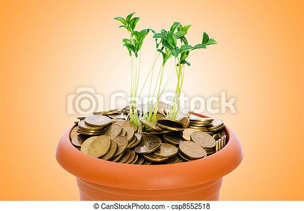 Semillas verdes creciendo de la pila de monedas - csp8552518