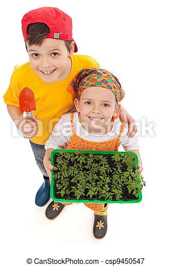 Los niños cultivan su propia comida - csp9450547