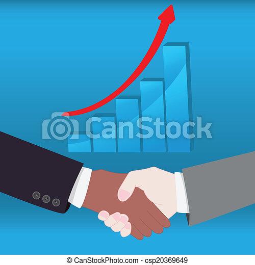 Un apretón de manos con gráficos de crecimiento de negocios. EPS10 - csp20369649