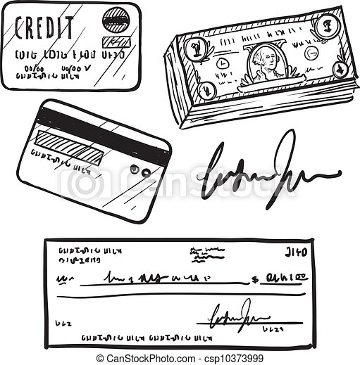 Credit And Finance Items Sketch Doodle Style Personal