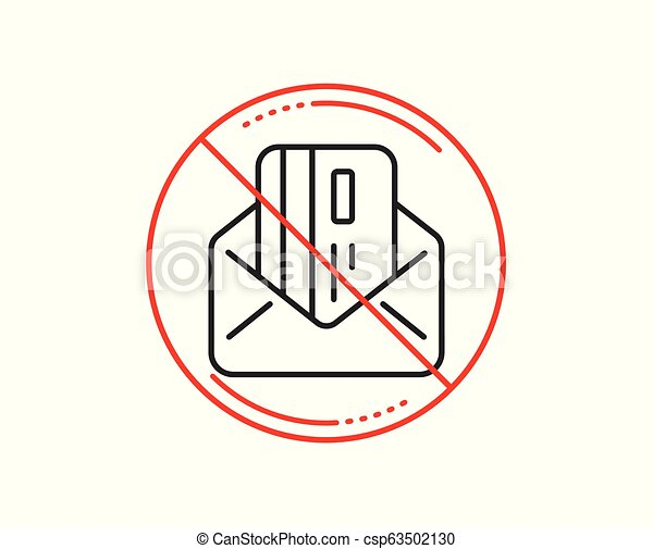 Credit card by mail line icon  Payment sign  Vector