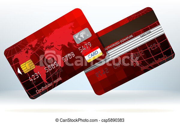 Credit Card Front And Back View Eps 8 Vector File Included