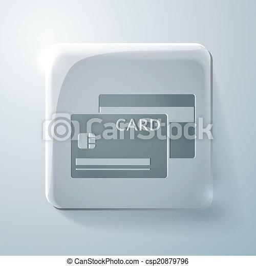 credit card. Glass square icon - csp20879796