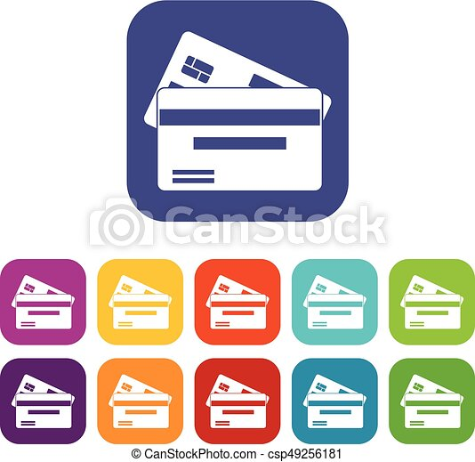 credit card icons set vector illustration in flat style in colors rh canstockphoto com vector credit card icons vector credit card icons