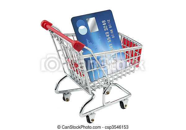 Credit card in a shopping trolley - csp3546153