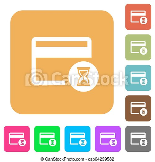 Credit card operation in progress rounded square flat icons - csp64239582