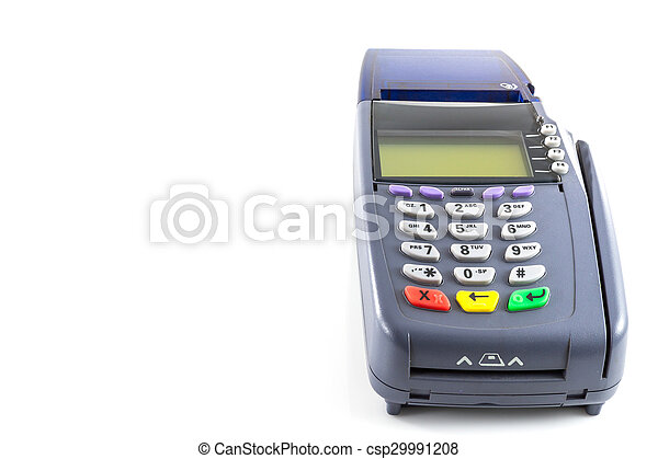 Credit card reader machine on white background. CanStock