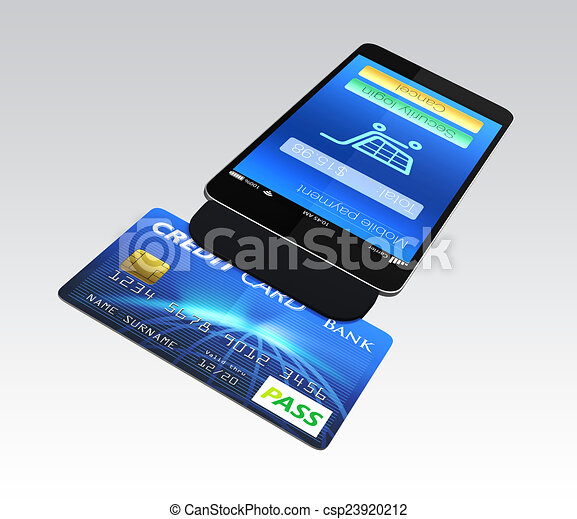 credit card reader on smart phone for mobile payment concept - Credit Card Swiper For Phone
