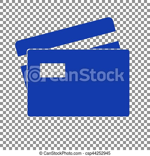 credit card sign blue icon on transparent background
