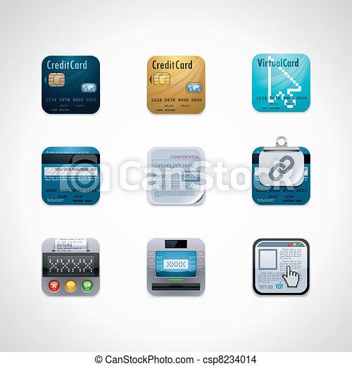 Credit card square icon set - csp8234014
