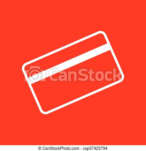 Credit Card Symbol For Download White Icon On Red Background