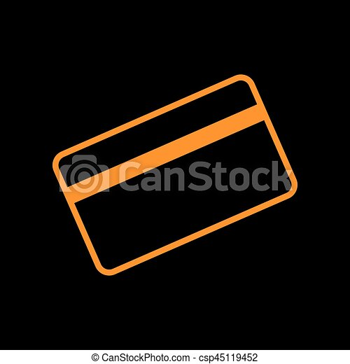 Credit card symbol for download. Orange icon on black background. Old phosphor monitor. CRT. - csp45119452
