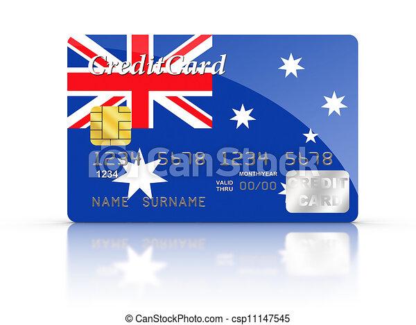 Credit Card with Australia flag. - csp11147545