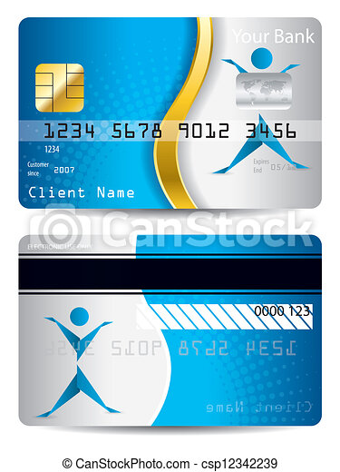 Credit Card With Gold Wave And Origami Person Credit Card