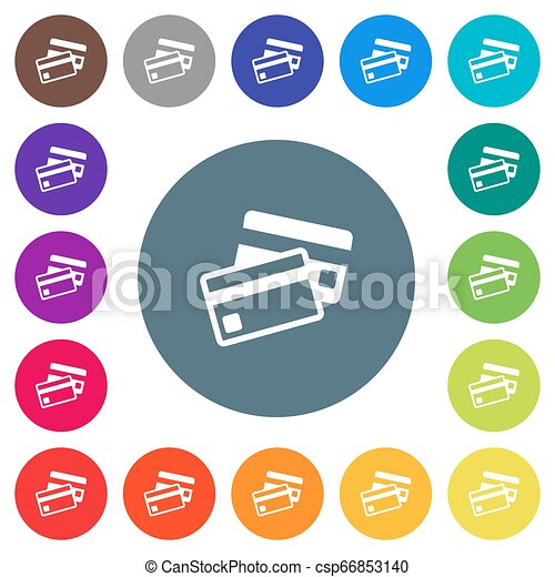 Credit cards flat white icons on round color backgrounds - csp66853140