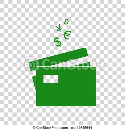 credit cards sign with currency symbols dark green icon on