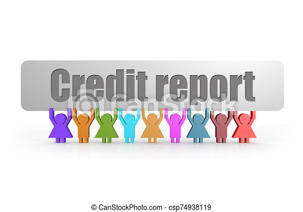 Credit report word on a banner hold by group of puppets - csp74938119