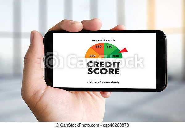 CREDIT SCORE (Businessman Checking Credit Score Online and Financial payment Rating Budget Money) - csp46268878