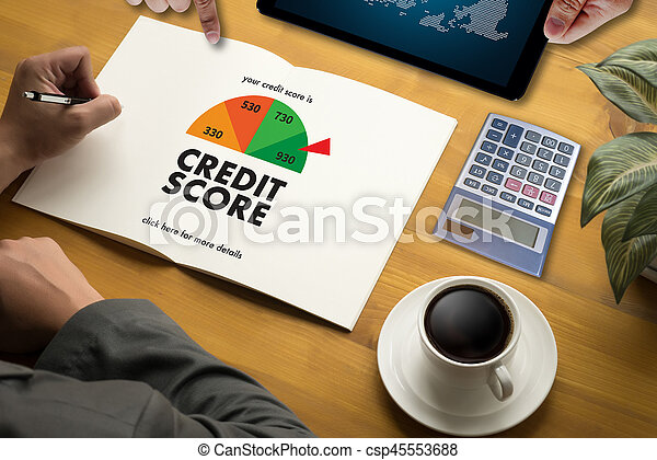 CREDIT SCORE (Businessman Checking Credit Score Online and Financial payment Rating Budget Money) - csp45553688