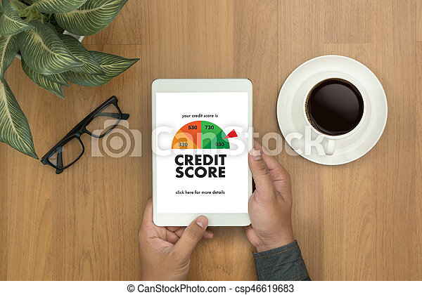 CREDIT SCORE (Businessman Checking Credit Score Online and Financial payment Rating Budget Money) - csp46619683