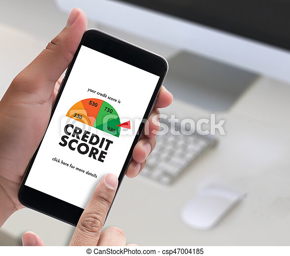 CREDIT SCORE (Businessman Checking Credit Score Online and Financial payment Rating Budget Money) - csp47004185