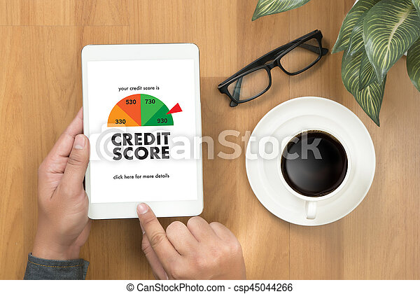 CREDIT SCORE (Businessman Checking Credit Score Online and Financial payment Rating Budget Money) - csp45044266