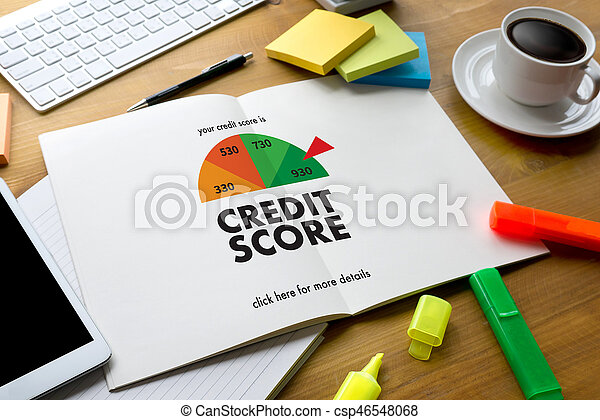 CREDIT SCORE (Businessman Checking Credit Score Online and Financial payment Rating Budget Money) - csp46548068
