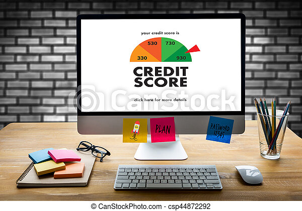 CREDIT SCORE (Businessman Checking Credit Score Online and Financial payment Rating Budget Money) - csp44872292