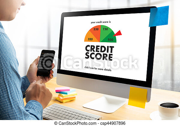 CREDIT SCORE (Businessman Checking Credit Score Online and Financial payment Rating Budget Money) - csp44907896