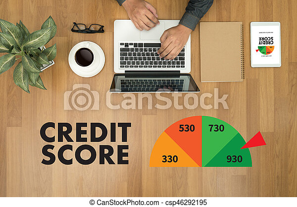 CREDIT SCORE (Businessman Checking Credit Score Online and Financial payment Rating Budget Money) - csp46292195