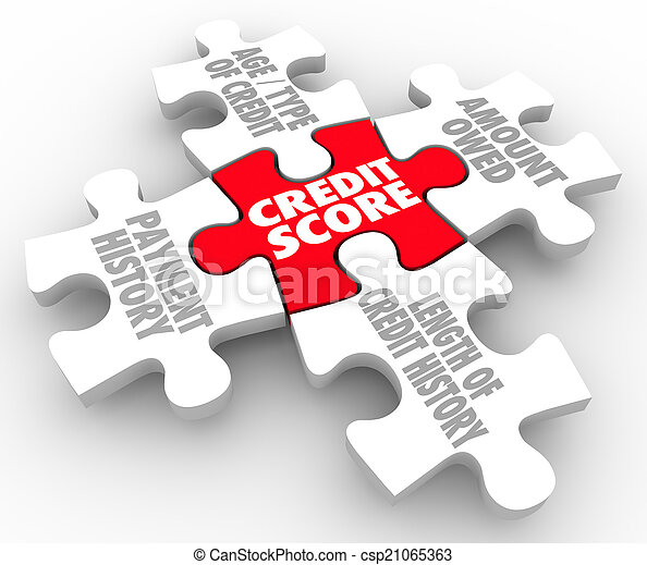 Credit Score Rating Puzzle Pieces Factors Payment History - csp21065363