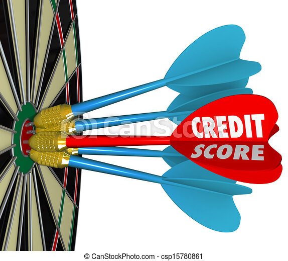 Credit Scores Darts on Dartboard Aiming for Best Number - csp15780861